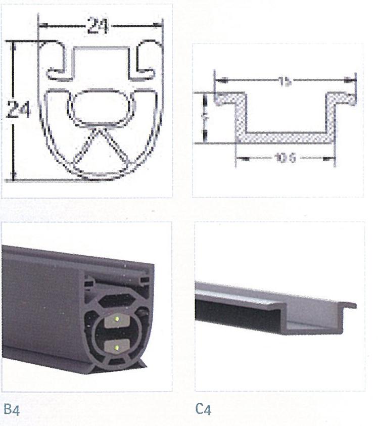 Klemlist for portautomatikk: gummilist og skinne